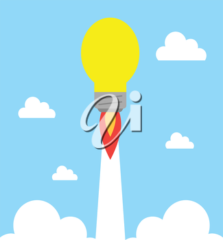 Vector yellow light bulb rocket ship flying on cloudy blue sky.