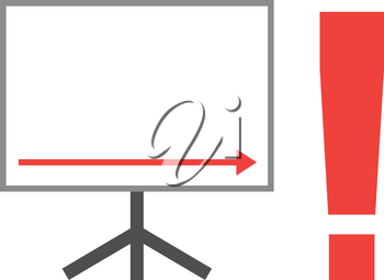Vector white board with red arrow pointing right down with red exclamation mark.