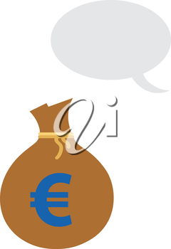 Vector brown money sack with blue euro symbol and grey speech bubble.