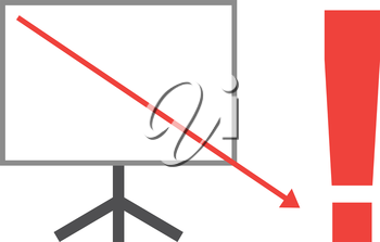 Vector white board with red exclamation mark and red arrow pointing way down.