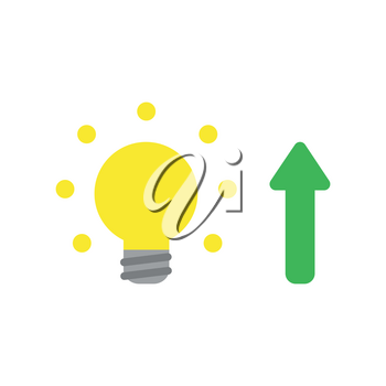 Flat design style vector illustration concept of yellow glowing light bulb with green arrow symbol icon pointing up on white background.