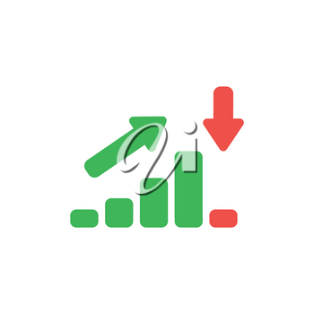 Flat design style vector illustration concept of green sales or value bar chart symbol icon moving up then moving down with arrows pointing up and down on white background.