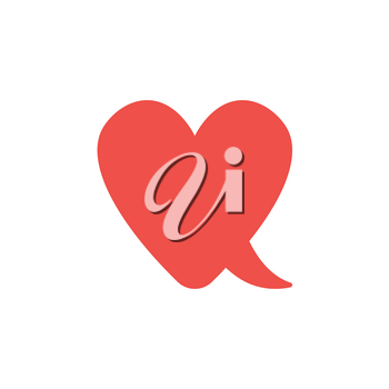 Flat design style vector illustration concept of red heart-shaped speech bubble symbol icon on white background.