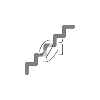 Flat design style vector illustration of grey line stairs symbol icon on white background.