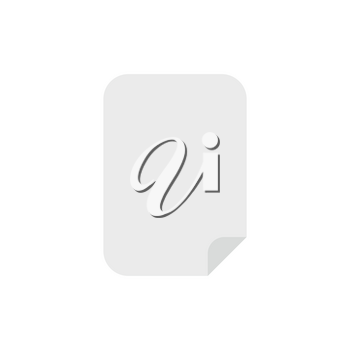 Flat design style vector illustration of grey blank paper symbol icon on white background.