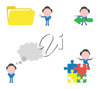 Vector illustration set of businessman mascot character with open file folder, walking and carrying arrow, with thought bubble and sitting on four connected jigsaw puzzle pieces.