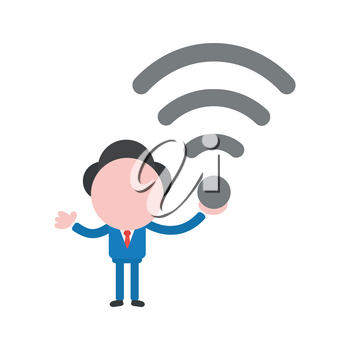 Vector cartoon illustration concept of faceless businessman mascot character holding grey wireless wifi symbol icon.