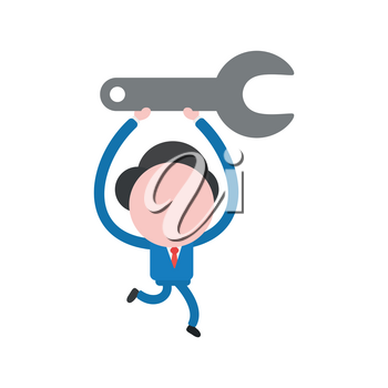 Vector cartoon illustration concept of faceless businessman mascot character holding up, running and carrying grey spanner symbol icon.