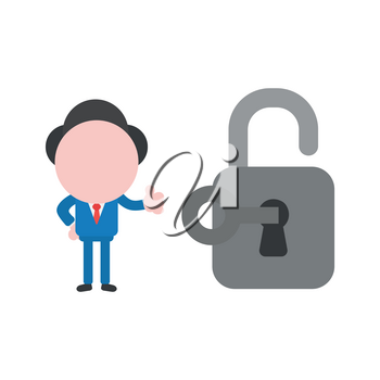 Vector cartoon illustration concept of faceless businessman mascot character unlock padlock symbol icon with key and gesturing thumbs up.