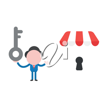 Vector illustration of businessman character holding grey key and showing shop store icon with keyhole.
