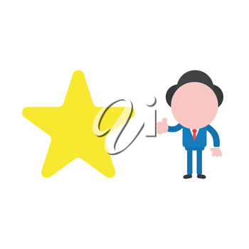 Vector illustration concept of businessman character with yellow star icon and giving thumbs up.