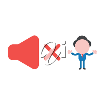 Vector illustration concept of businessman character with red speaker sound symbol icon off.