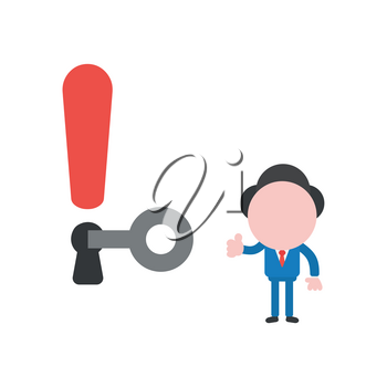 Vector illustration of faceless businessman character unlock exclamation keyhole and giving thumbs up.