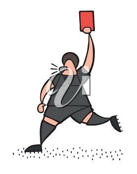 Vector illustration cartoon referee man running and showing red card.
