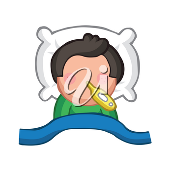 Vector hand-drawn cartoon illustration of man lying in bed sick with flu with thermometer.