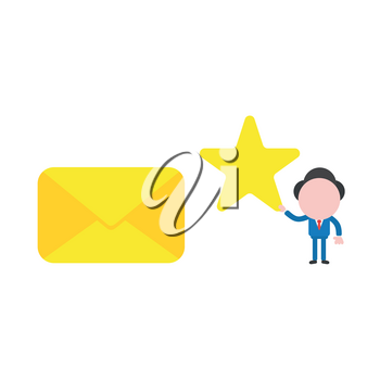 Vector illustration businessman mascot character holding star to closed mail envelope.