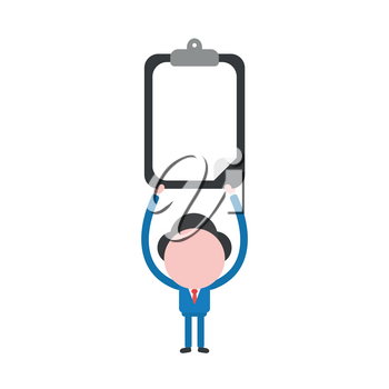Vector illustration businessman mascot character holding up clipboard with blank paper.