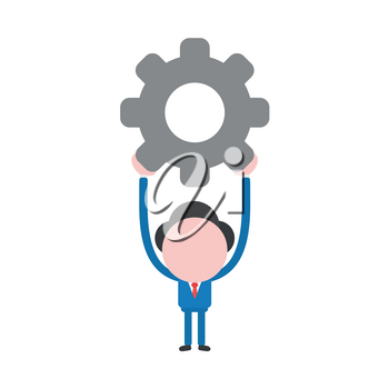 Vector illustration businessman character holding up grey gear.