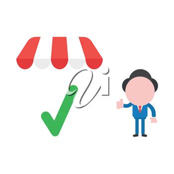 Vector illustration businessman character giving thumbs up with green check mark under shop store awning.