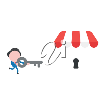 Vector illustration businessman character running and carrying key to unlock shop store keyhole.