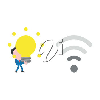 Vector illustration businessman character walking and carrying glowing light bulb idea to wireless wifi with low signal.