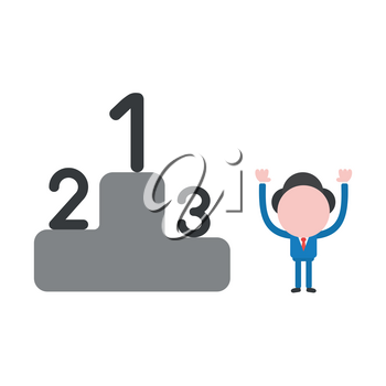 Vector illustration businessman character with first, second and third places on winners podium.