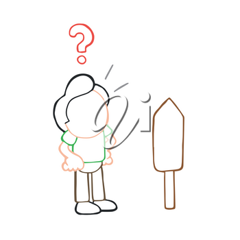 Vector hand-drawn cartoon illustration of confused man standing front of road sign.