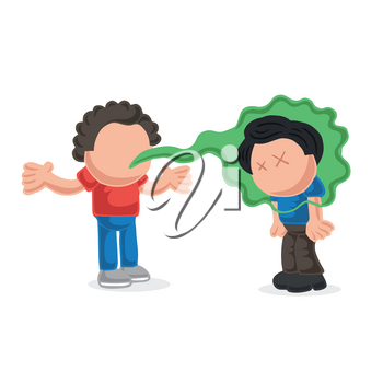 Vector hand-drawn cartoon illustration of with bad breath talking to another man.