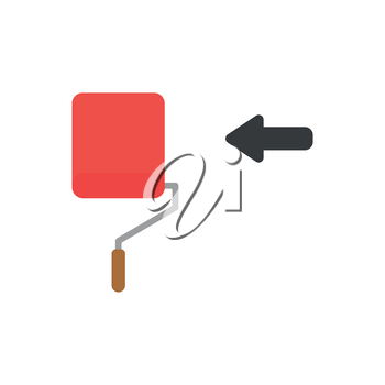 Vector illustration concept of red paint brush roller icon painting.