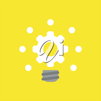 Flat vector icon concept of glowing gear light bulb on yellow background.