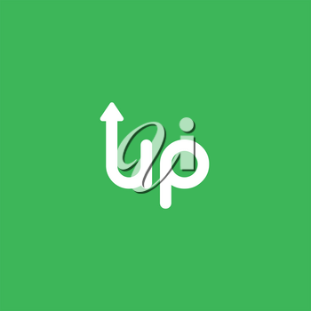 Flat vector icon concept of up word with arrow moving up on green background.