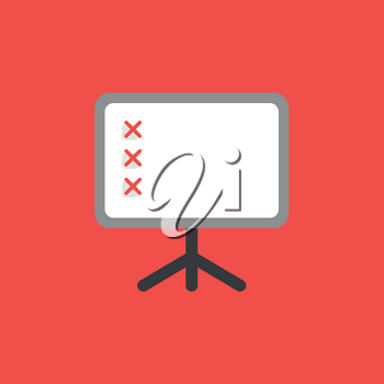 Flat vector icon concept of presentation chart with three x marks on red background.