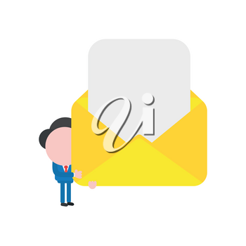 Vector illustration businessman character holding open mail envelope with blank paper.
