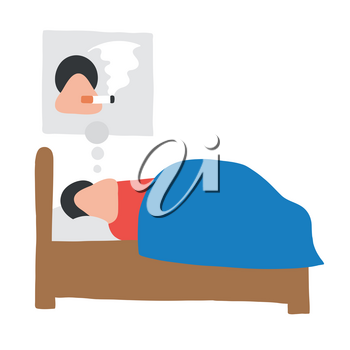 Vector illustration cartoon man character sleeping and smoking cigarette in his dream.