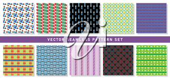 Vector seamless pattern texture background set with geometric shapes in blue, brown, orange, green, red, black, yellow, purple, violet and white colors.