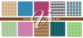 Vector seamless pattern texture background set with geometric shapes in orange, grey, violet, blue, black, white, red, pink and brown colors.