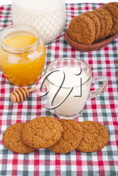 Royalty Free Photo of Milk, Cookies and Honey