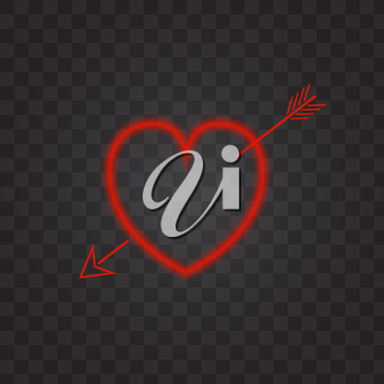 Neon heart with an arrow on a transparent background. Vector illustration .