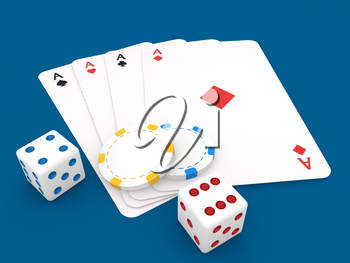 Playing cards casino chips and dice on a blue background. 3d render illustration.