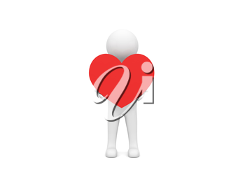 3d character holding a heart on a white background. 3d render illustration.