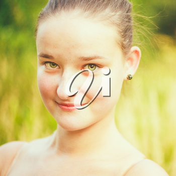 Portrait Of Face Young Beautiful Girl Woman On Green Outdoor Background Summer Nature