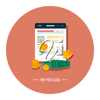 Pay per click internet advertising model when the ad is clicked. Modern flat design