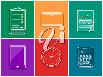 Office and business work elements set. Line icon