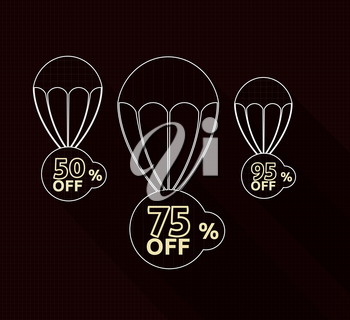 Discount parachute set on black background