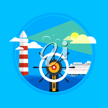 Cruise ship, lighthouse, wheel and clear blue water. Water tourism. Icons of traveling, planning a summer vacation, tourism and journey objects