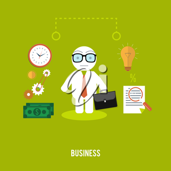 Businessmen with cases go on a meeting. Business concept in flat design