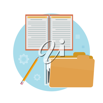 Folder, notebook and pencil. Business concept for office workers