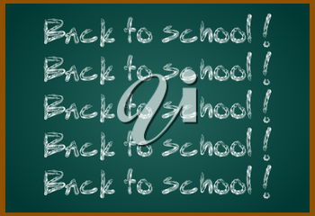 Back to school concept text on chalkboard with item icons