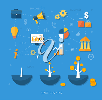 Business start infographics template. Scheme with linked, icons and gears. Tree with coins money grows flat design style
