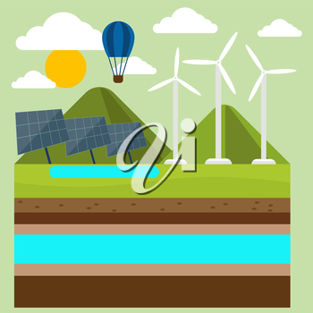 Renewable energy like hydro, solar, geothermal and wind power generation facilities cartoon style